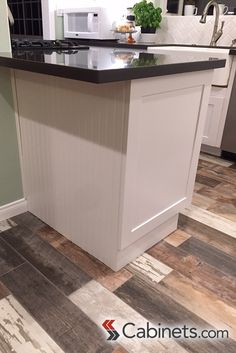 White Kitchen End Panels pull-out spice rack in our deerfield belleair maple willow gray