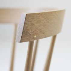 """coolicanandcompany: """"Detail of the new Edwin chair. White oak with a white oil. Brass peg detail. Come see us at #ids16 January 21-24.…"""