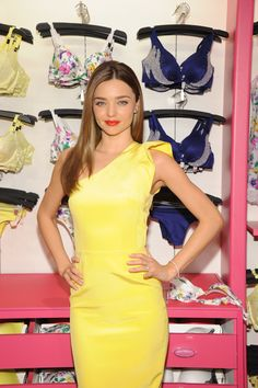 Miranda Kerr wearing a beautiful off shoulder fitted yellow dress!!!
