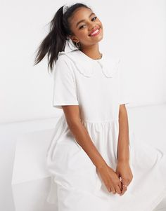 Monki Kamilla organic cotton mini dress with collar in white Collar Dress, Monki, Organic Cotton, Dresses, Vestidos, Collared Dress, Dress, Gowns, Clothes