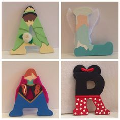 Disney Letters. Hand painted to look like your favorite Disney Character or Princess.  on Etsy, $5.00