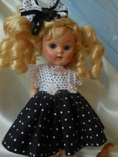 FRILLY, pin dot dress and hairbow, fits Ginny, Muffie, all 7 to 8 in. dolls.