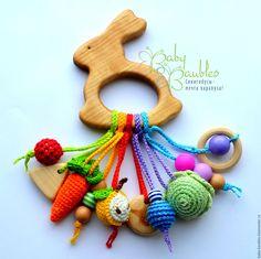 """Купить """"Зайка"""" грызунок - комбинированный, деревянные игрушки, грызунки, прорезыватели, игрушка зайка, первые игрушки"""