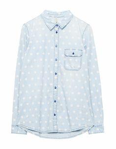 Pull & Bear polka dot jeans shirt Polka Dot Jeans, Polka Dot Top, Jean Shirts, Denim Shirt, Printed Denim, Casual Looks, Shirt Dress, Womens Fashion, Mens Tops