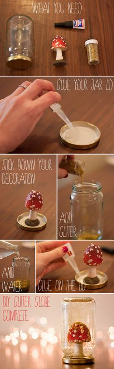 DIY Snow globes. Really nice tutorial. I would add a tablespoon or so of glycerin to make the water more viscous and thick so the glitter settles more slowly.