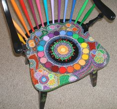 """""""Rainbow Chair"""" painted with dots! See more pictures at anniescreations.s… """"Rainbow Chair"""" painted with dots! See more pictures at anniescreations. Hand Painted Chairs, Whimsical Painted Furniture, Painted Stools, Hand Painted Furniture, Funky Furniture, Recycled Furniture, Refurbished Furniture, Art Furniture, Unique Furniture"""