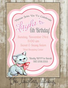 81 best es 8th birthday party cats and kittens craft theme kitty invitation cat invite cat party kitten party invitation first birthday filmwisefo