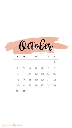 Cute pink watercolor October calendar 2016 wallpaper you can download for free on the blog! For any device; mobile, desktop, iphone, android!