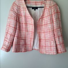 Talbots 12p Jacket Darling jacket by Talbots- pink , coral, and cream- cute pockets on front- size 12p Talbots Jackets & Coats Blazers