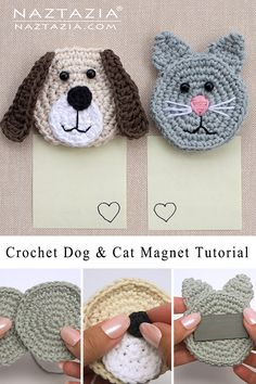 Crochet Applique Patterns Free, Crochet Coaster Pattern, Baby Applique, Crochet Cat Pattern, Crochet Motif, Diy Crochet, Crochet Crafts, Crochet Toys, Crochet Projects