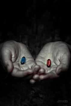 Red or Blue Pill? Go ask Alice. by Marivick D Photography, via I love that book! Keanu Matrix, Simulacra And Simulation, Matrix Quotes, The Matrix Movie, Images Star Wars, Ghost In The Shell, Hand Art, Keanu Reeves, Fight Club