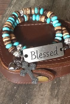 CRoSS TuRQuoiSe WRaP BLeSSeD/ Heart Charm/ Gemstone and wood bracelet/ women's/ teen girl double wrap/ Christian by Ivanwerks on Etsy Turquoise Gemstone, Gemstone Beads, Boot Bracelet, Christian Bracelets, Diy Jewelry, Jewellery, Heart Charm, Blessed, Bling