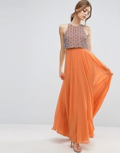 ASOS All Over Embellished Crop Top Maxi Dress is perfect for a spring or summer wedding or a tropical vacation.