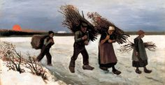 Painting, Oil on Canvas on Panel Nuenen: September, 1884 Private collection Wood Gatherers in the Snow Van Gogh Gallery Vincent Van Gogh Pinturas, Vincent Willem Van Gogh, Painting Snow, Painting & Drawing, Painting Prints, Artist Van Gogh, Van Gogh Art, Art Van, Monet