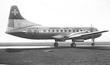 A 1949-built Convair 240 of Swiss Air Lines at Manchester, England, in March 1950.