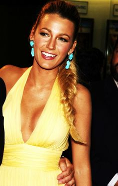 Blake Lively - the yellow dress with the turquoise earrings is beautiful.