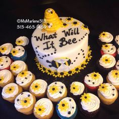 What Will It Bee...Gender Reveal Cake with Matching Cupcakes by #msmarlene313 #3134631459 #whatwillitbee #genderrevealcake #bumblebee #heorshe #princeorprincess #boyorgirl #customcakesbymsmarlene #cakequeenmarlene #cakelady313 #cakeladydetroit #customcakesdetroit #detroitscakelady #detroitcustomcakes #designercakesdetroit #detroitcakes #madeindetroit #313 #msmarlene313