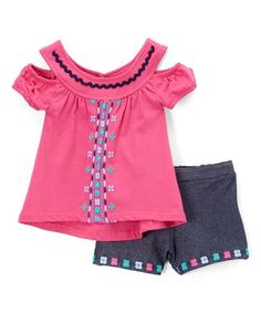 Another great find on #zulily! Pink Cutout Tunic & Navy Floral Shorts - Toddler & Girls #zulilyfinds