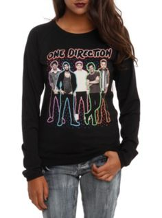 One Direction Neon Outline Long-Sleeved Girls Top
