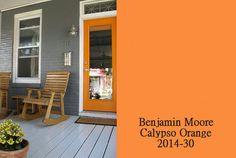 Colorful Designer Front Doors and Paint Samples - Simplified Bee  benjamin moore calypso orange