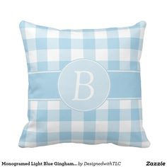 Monogramed Light Blue Gingham Pillow