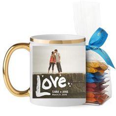 Full of Love Mug, Gold Handle, with Ghirardelli Minis, 11 oz, White
