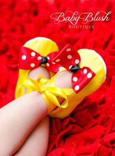 Yellow Satin Baby Shoes with Red & White by babyblushboutique