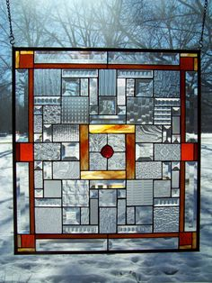 Bevels, Textured Clear & Orange Large Stained Glass Panel II