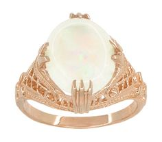 Art Deco White Opal Filigree Ring in 14K Rose Gold - $775 - pink gold and opal rings are a unique and striking combination... - http://www.antiquejewelrymall.com/r157r.html