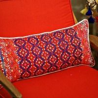 Red and Blue Chiapas Long Pillow, One of a Kind