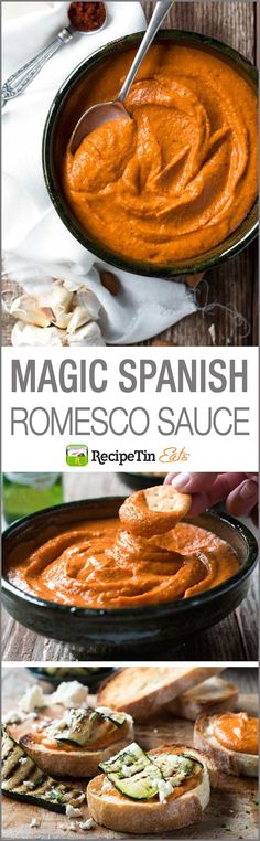 Magic Spanish Romesco Sauce - This miracle sauce is simple to make and fabulous to use as a dip, sauce, spread, pesto, as a marinade or even to flavour and thicken soups! Would make a great sauce for zoodles! Mexican Food Recipes, Dinner Recipes, Tapas Recipes, Spanish Food Recipes, Authentic Spanish Recipes, Shrimp Recipes, Cheese Recipes, Recipies, Dessert Recipes