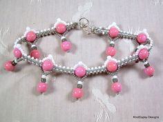 Micro Macrame ANKLET - Knot Squared in Pink White and Gray