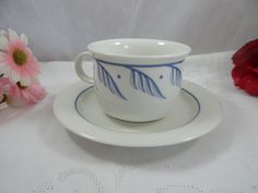 Arabia Finland Modern Blue and White Teacup and by SecondWindShop, $10.00