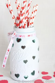 Decochic: Heart Mason Jar // Could do polka dots and put a candle in to shine through.