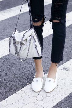 Stella McCartney`s iconic Falabella bag in classic white.