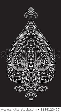 Find beautiful paisley motif on black Stock Vectors and millions of other royalty-free stock photos, illustrations, and vectors in the Shutterstock collection. Thousands of new, high-quality images added every day. Rangoli Border Designs, Mehndi Art Designs, Embroidery Motifs, Hand Embroidery Designs, Paisley, Arabesque, Saree Painting Designs, Alpona Design, Rangoli Ideas
