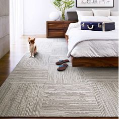 FLOR LACEBARK carpet tiles - I like the patchwork detail yet soothing neutrals, especially for a bedroom