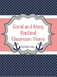 Navy and Coral/Salmon Nautical Classroom Theme (with edita