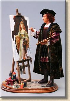 Rembrandt The eccentric Flemish painter stands with palette and brush in hand, intently working on a large portrait of Flora, goddess of spring. To clean his brush, he just wipes it off on his velvet robes.  - by Martha & Marianne