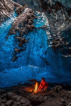 Coffee Time in Vatnajokull Ice Cave, Skaftafell National Park, Iceland