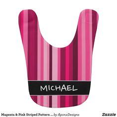 Magenta & Pink Striped Pattern + Custom Name Baby Bibs, Magenta, Names, Bra, Pattern, Pink, Color, Design, Fashion