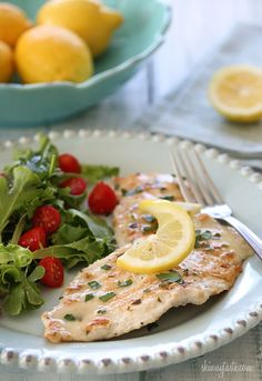 Chicken Francese - Low fat chicken breast in a light white wine lemon sauce.