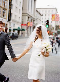 Short Valentino Gown for an Urban San Francisco Wedding.  City Hall Wedding. Photo: Christina McNeill