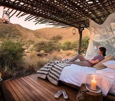 Enjoy the views across the wide Kalahari plains from your bed Indoor Outdoor, Outdoor Living, Outdoor Decor, Small Spa, Holiday Places, Out Of Africa, Window View, Spa Offers, Lounge Areas