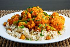 Cauliflower and Chickpea Curry * - use kale instead of green beans and add when chick peas are added - move cauliflower to add last and cook al dente
