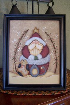 Santa Kitty Canvas Handpainted Framed Holiday Christmas by Primgal, $19.95/ Jan would like idea but more glitter.