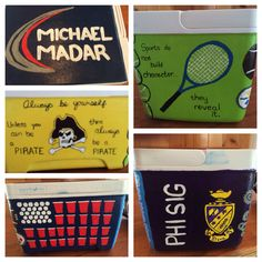 Cooler made for Phi Sigma Pi initiate with ECU, tennis and drinking sides