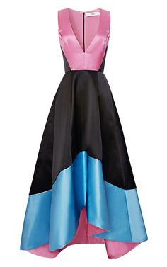 Doubleface Satin V Neck Gown by PRABAL GURUNG for Preorder on Moda Operandi