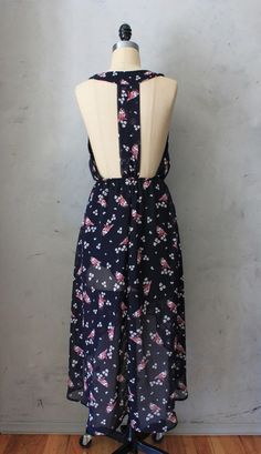 Cherry Blossom & Birds - Navy blue dress with T back detail // NO FEES