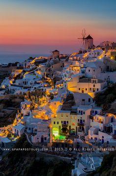 Oia Colorfull at night......!!!! Kyklades Hellas by George Papapostolu